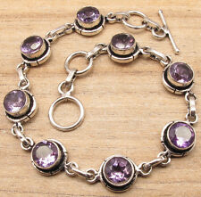 Purple AMETHYST 8 Stone Bracelet 7.6 Inch !! 925 Silver Plated Artwork Jewelry