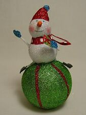 Whimsical Snowman Bottle Topper Xmas Holiday Ornament Handmade Steel Metal Doll