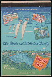 OHIO OH River Sailboat Fort Recovery Rubber Industry Vtg Match Book Cover Old