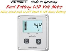 Votronic LCD Dual Battery Volt Meter Monitor Gauge 12V 24V Start & House Battery