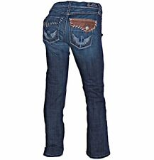 Cello Dark Wash Leather Flap Eagle Embroidered Pocket Boot Cut Jeans 30 x 31.5