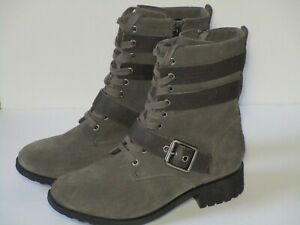 UGG Boots Women 7.5 ZIA Moto Combat Waterproof Leather Wool Gray Slate 1103572