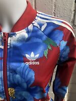 Adidas Women's Originals Track Top Size 6 Floral Ladies Jacket Flowers