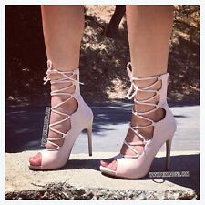 NUDE LACE UP PEEP OPEN TOE HIGH HEELS STILETTOS FASHION 10 CAGED OVER THE ANKLE