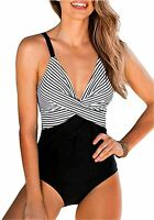 B2prity Women One Piece Swimsuits Sexy Deep V Plunge Cross, 01, Size X-Large RRf