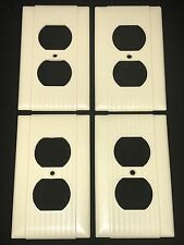 4 Vintage Uniline BAKELITE Ribbed w/ Lines Single Gang Outlet Plate Covers