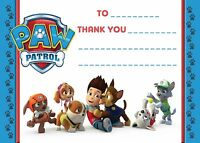 PAW PATROL CHILDRENS BIRTHDAY THANK YOU CARDS NOTES PAPER LETTERS  ENVELOPES