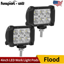 2x 4INCH 18W LED Work Light Bar Flood Pods Offroad Fog Lamp 4WD Pickup ATV BOAT
