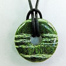 "Green & White Zebra Jasper 1 1/4"" Polished Stone Donut Leather Cord Necklace #1"