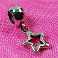 Genuine 925 Solid Sterling Silver Star Charm Bead European Bracelet Fit