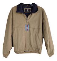 Men's Khaki Brown Full Zip Coat Jacket Fleece Lined Dunbrooke Outerwear Small