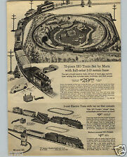 1966 PAPER AD 3 PG Marx HO Toy Train Set Electric Lionel Steam Freighter
