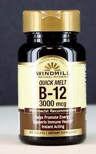 Windmill Quick Melt B-12 3000 mcg 60 CT Supports Immune Health