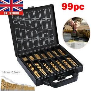 Box 99Pcs Piece Case Cobalt Drill Bit Set High Speed Steel HSS Twist Bits Box UK