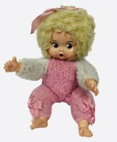 Vintage Rubber Face Plush Thumb Sucker Doll Pink White Baby Girl Cute Soiled
