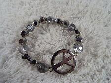 COOKIE LEE Silvertone Bead Peace Sign Symbol Bracelet  (A45)