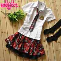 Sexy School Uniform Japanese Red Checkers Fancy Dress Sailor Cosplay Costume