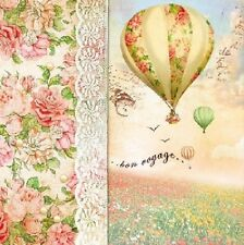 4 Vintage Paper Napkins for Decoupage Lunch Decopatch Party Bon Voyage Balloon