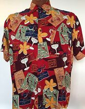 John Henry Hawaiian Camp Rayon L (XXL) Multi-Color Short Sleeve Tropical Lounge