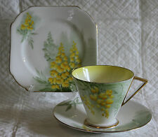 Shelley Art Deco Gilded Eve Pattern 12420 Laburnum Plate Cup & Saucer Trio
