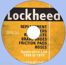Lockheed Brake Parts  Information circa 1959 ~ 1970 dvd rom