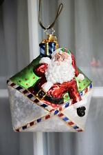 Large Retired Christopher Radko Santa Letter North Pole Blown Glass Ornament