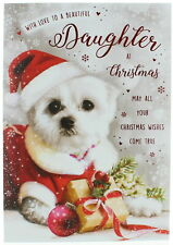 "Daughter Christmas Card - Dog In Santa Suit With Gift Glitter & Foil 9"" x 6"""