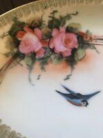 Antique French Limoges Gilt Stix Baer Fuller Artist Signed Roses Swallow Dish