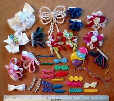 Vintage Lot of 34 Hair Clips - Bows Ribbons Beads - Molded Plastic - Baby Girl