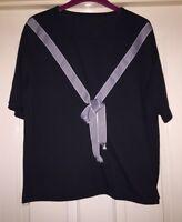 Gorgeous Black Top With Striped Ribbon Detail, Size 14 - Lovely!