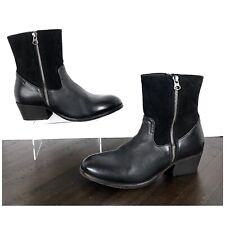 NEW H by Hudson Riley Double Zip Ankle Boots Women's Size 9 Black Leather Suede