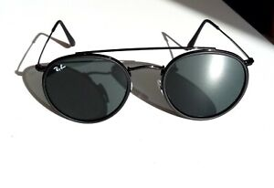 Ray-Ban all black Designer Sunglasses Round Double Bridge 3647n 002/R5 bnib