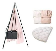 Leander-Babywiege grau + Stativ grau+Himmel rosa + Betttücher rosa/weiß+Auflage!