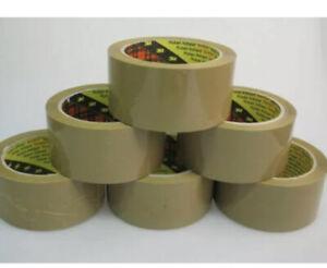 144 X Scotch 3M Brown Buff Tape Rolls Parcel Box Packaging Sealing