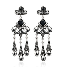 1 Pair Elegant Women Retro Silver Rhinestones Crystal Ear Stud Fashion Earrings