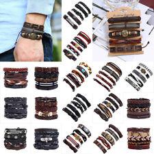 Fashion Mens Punk Leather Wrap Braided Wristband Cuff  Bracelet Bangle Jewelry