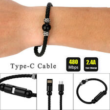 Weave Creative 8Pin Type-C Data Cable Bead Bracelet Charger For Samsung Galaxy 8