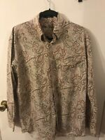 Alan Flusser Men's Button Down Shirt Shirt Collared Size Large Paisley