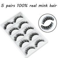 5 Pairs Set Mink Natural Thick False Fake Eyelashes Eye Lashes Makeup Extension