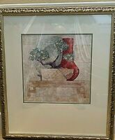 "Framed Still Life Print.  Bonsai and vase.   Signed.  33x22"".  2 inch frame."