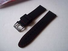 Silicon watch strap 22mm. Black, with red stitch. New in package.