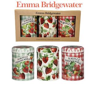 Emma Bridgewater Strawberries Set of 3  Caddie Storage Tins-New in Box