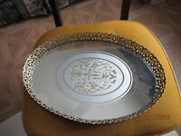 Vintage Mid Century Oval Mirrored Dresser Tray With Floral Insert Gold Filigree
