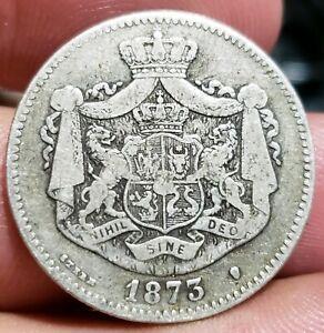 1873 2 lei Romania Carol  I  Silver