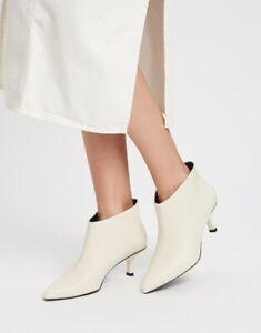 Mango Ashley Womens Ivory White Faux Leather Ankle Boot UK Size 7