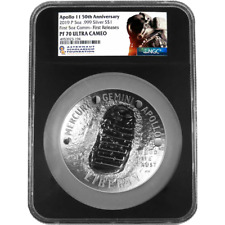 2019-P Proof $1 Apollo 11 50th Ann 5oz. Silver Dollar NGC PF70UC ASF FR Label Re