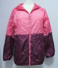 New Womans  Marks & Spencer pink & maroon red pack-a-way shower mac jacket S