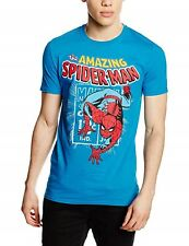 Spiderman Marvel Comics Spidey Stamp Officially Licensed Blue Tee Adult XL