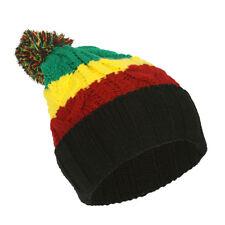 TopHeadwear Rasta Color Block Crochet Knit Pom Cuff Beanie