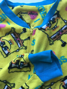 Spongebob Squarepants Nerds Yellow Fleece One Piece Adult Footed Pajamas Sz Med